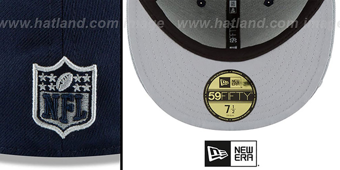 Cowboys 'VISOR-SCRIPT' Navy-Grey Fitted Hat by New Era