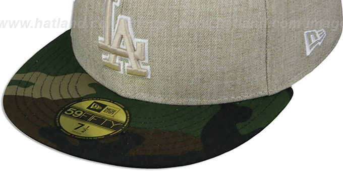 Dodgers '2T-HEATHER' Oatmeal-Army Fitted Hat by New Era