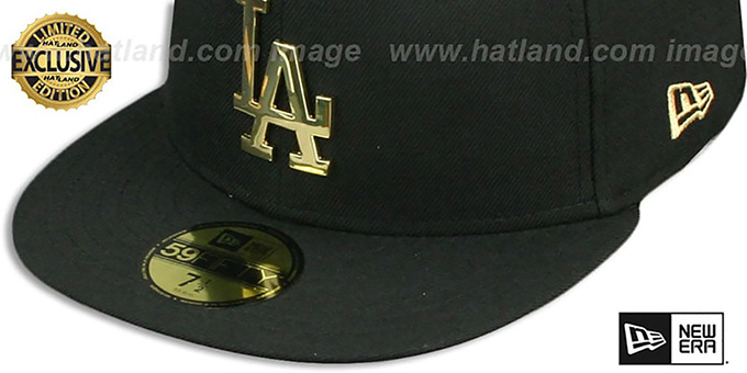 the latest 92754 98637 ... Dodgers  GOLD METAL-BADGE  Black Fitted Hat by New Era