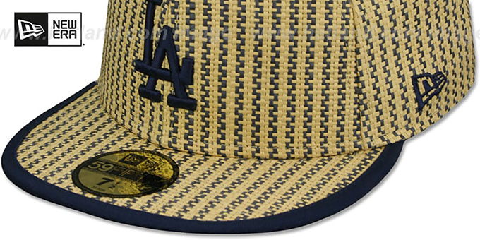 Dodgers PINSTRIPE 'WEAVE' Tan-Navy Fitted Hat by New Era