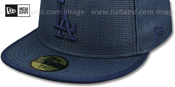 Los Angeles Dodgers SOLID WEAVE Navy Fitted Hat by New Era 753a3e89706