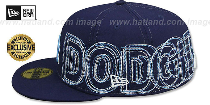 Dodgers 'WORD-WRAP' Navy Fitted Hat by New Era