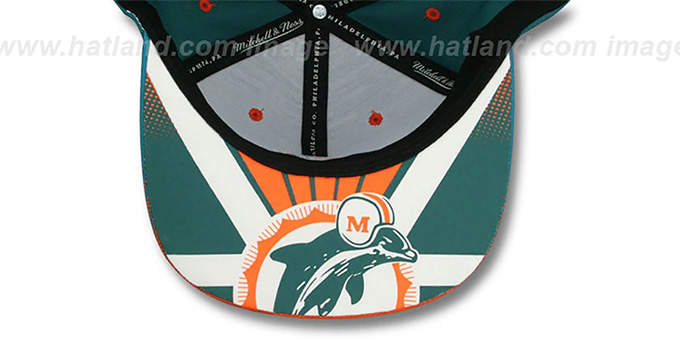 Dolphins 'STOP-ON-A-DIME SNAPBACK' Aqua-Orange Hat by Mitchell and Ness