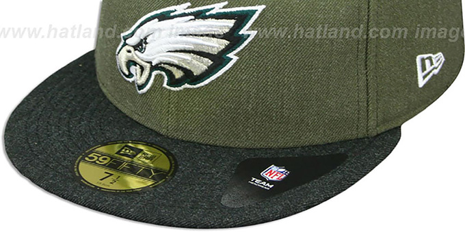 Eagles '2T-HEATHER ACTION' Green-Charcoal Fitted Hat by New Era