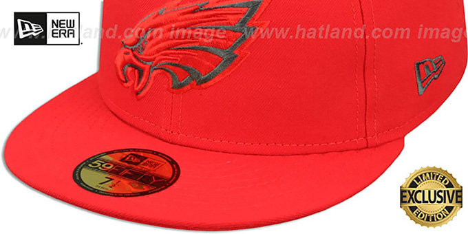 Eagles 'NFL TEAM-BASIC' Fire Red-Charcoal Fitted Hat by New Era