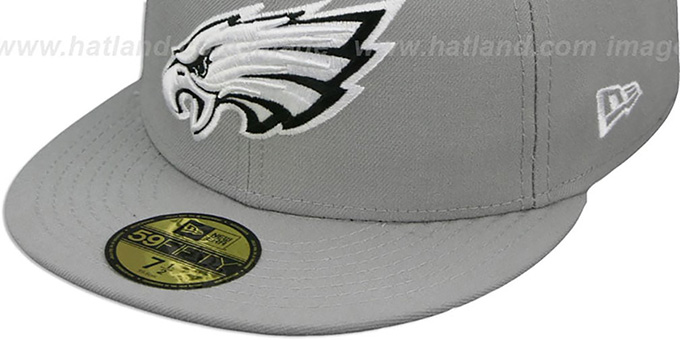 Eagles 'NFL TEAM-BASIC' Grey-Black-White Fitted Hat by New Era