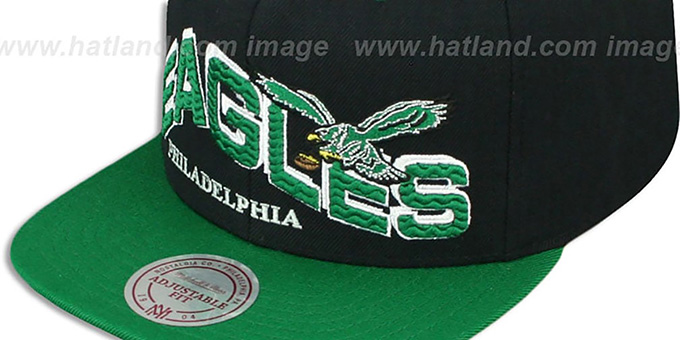 Eagles 'THE-WAVE SNAPBACK' Black-Green Hat by Mitchell and Ness