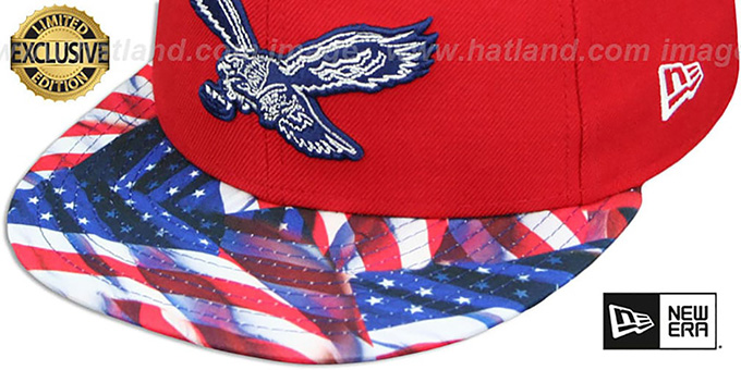 Eagles 'THROWBACK USA WAVING-FLAG' Red Fitted Hat by New Era