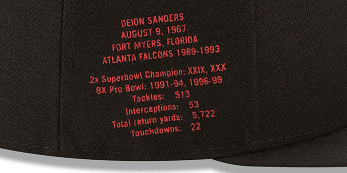 Falcons 'THROWBACK SANDERS STATS' Black Fitted Hat by New Era