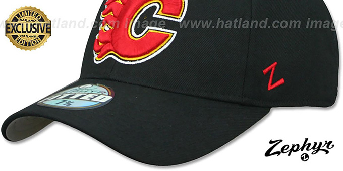 Flames 'SHOOTOUT' Black Fitted Hat by Zephyr