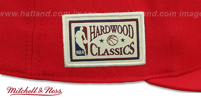 Hawks 'HWC SIDE-PATCH' Red Fitted Hat by Mitchell and Ness