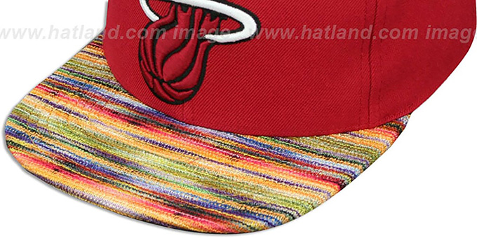 Heat 'KNIT-WEAVE SNAPBACK' Red-Multi Hat by Mitchell and Ness