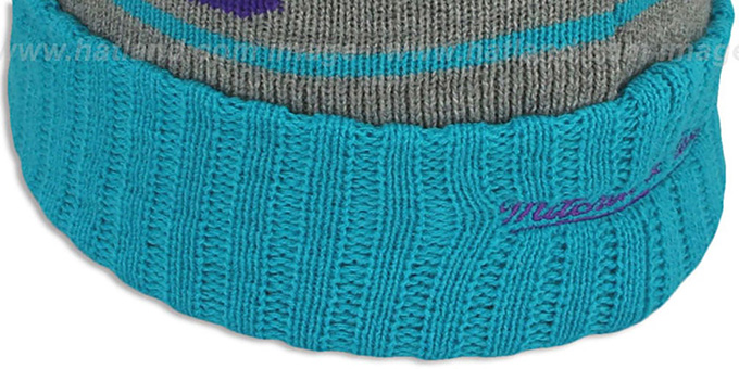 Hornets 'HIGH-5 CIRCLE BEANIE' Grey-Teal by Mitchell and Ness