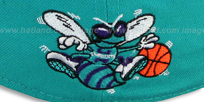 Hornets 'SCRIPT-PUNCH' Teal-Black Fitted Hat by New Era