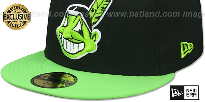 Indians 'CHIEF-WAHOO' Black-Lime Fitted Hat by New Era
