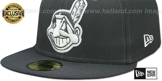 Indians 'CHIEF-WAHOO' Charcoal-White Fitted Hat by New Era