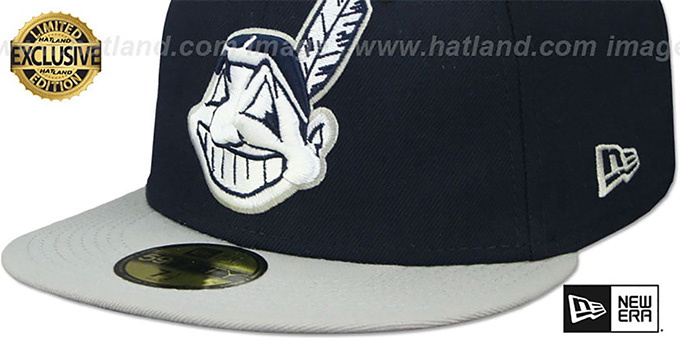 Indians 'CHIEF-WAHOO' Navy-Light Grey Fitted Hat by New Era