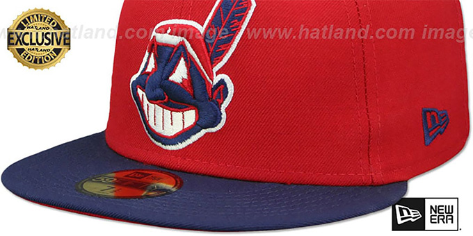 ed30afa1e093e Cleveland Indians CHIEF-WAHOO Red-Navy Fitted Hat by New Era