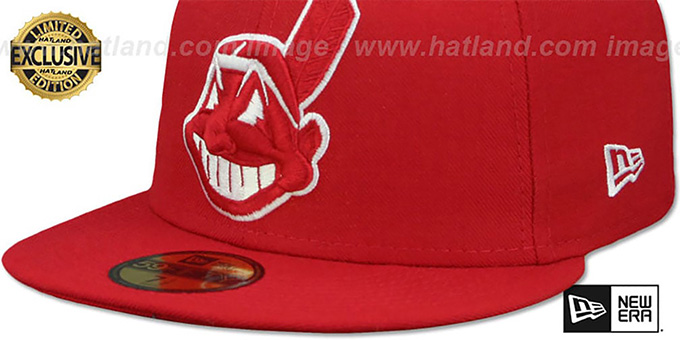 8d71d520 ... Indians 'CHIEF-WAHOO' Red-White Fitted Hat by New Era