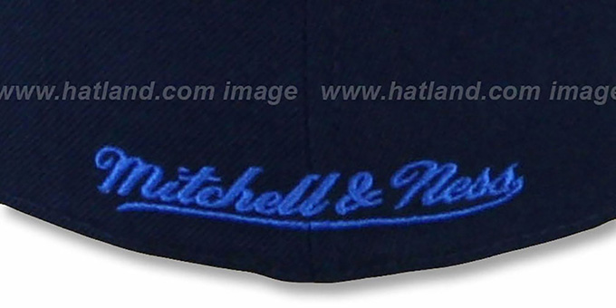 Jets '2T XL-LOGO' Navy-Sky Fitted Hat by Mitchell & Ness