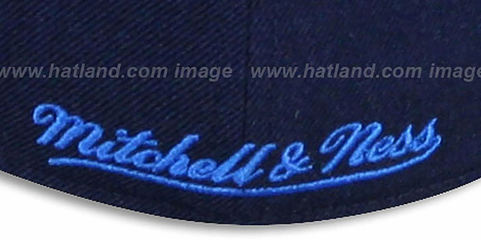 Jets 'CLASSIC-SCRIPT' Navy Fitted Hat by Mitchell & Ness
