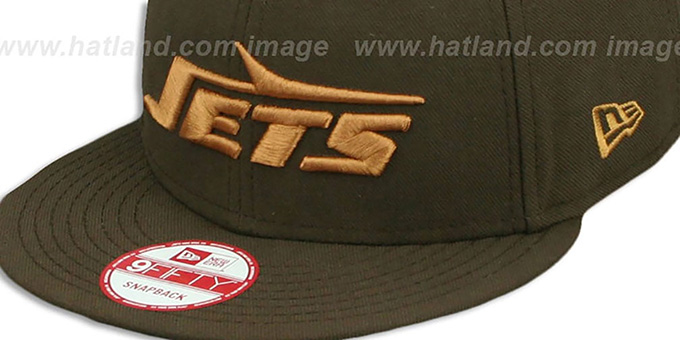 Jets 'THROWBACK TEAM-BASIC SNAPBACK' Brown-Wheat Hat by New Era