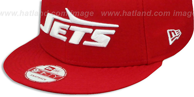 Jets 'THROWBACK TEAM-BASIC SNAPBACK' Red-White Hat by New Era