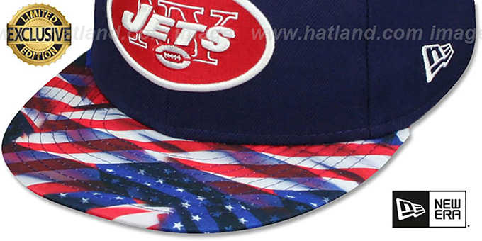 Jets 'USA WAVING-FLAG' Navy Fitted Hat by New Era