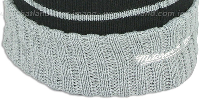 Kings 'HIGH-5 CIRCLE BEANIE' Black-Grey by Mitchell and Ness