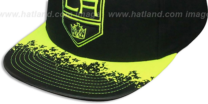 Kings 'NEON-LAVA SNAPBACK' Black-Yellow Hat by Mitchell and Ness