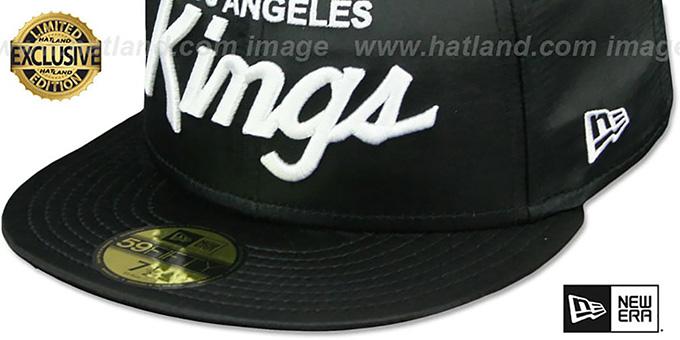 new arrival ecdb8 13d3e ... Kings SCRIPT  SATIN BASIC  Black Fitted Hat by New Era