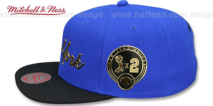 Knicks 'CITY CHAMPS SCRIPT SNAPBACK' Royal-Black Hat by Mitchell and Ness