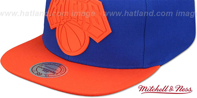 Knicks 'XL RUBBER WELD SNAPBACK' Royal-Orange Adjustable Hat by Mitchell and Ness