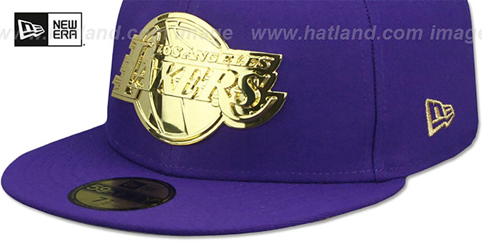 Lakers 'GOLD METAL-BADGE' Purple Fitted Hat by New Era