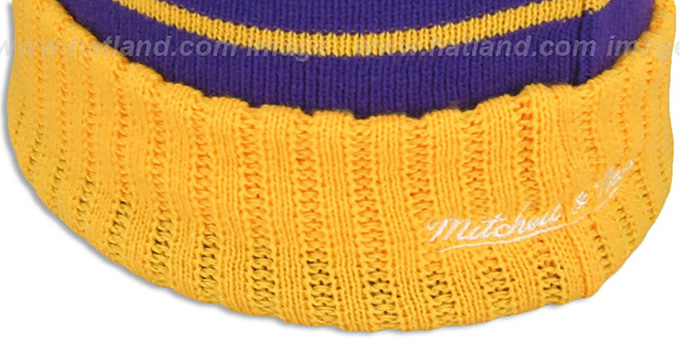 Lakers 'HIGH-5 CIRCLE BEANIE' Purple-Gold by Mitchell and Ness