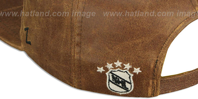 Maples Leafs 'DYNASTY LEATHER STRAPBACK' Brown Hat Zephyr