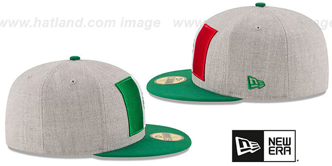 Mexico 'HEATHER GRAND' Grey-Green Fitted Hat by New Era
