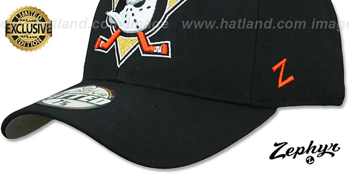Mighty Ducks 'SHOOTOUT' Black Fitted Hat by Zephyr