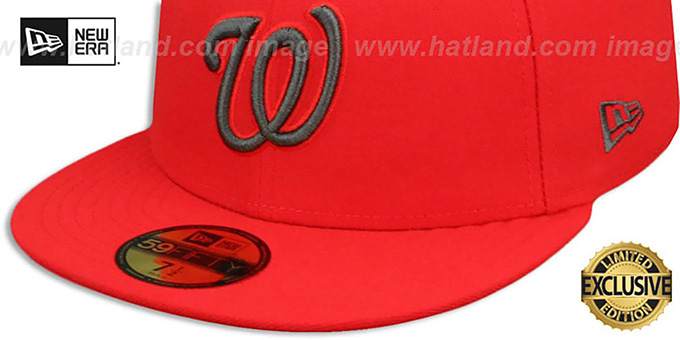 Nationals 'MLB TEAM-BASIC' Fire Red-Charcoal Fitted Hat by New Era