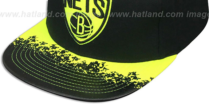 Nets 'NEON-LAVA SNAPBACK' Black-Yellow Hat by Mitchell and Ness