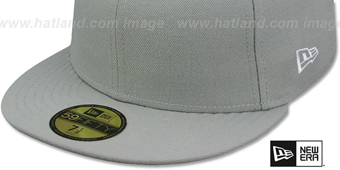 New Era '59FIFTY-BLANK' Solid Light Grey Fitted Hat