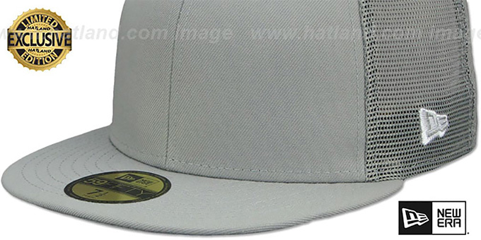 New Era 'MESH-BACK 59FIFTY-BLANK' Grey-Grey Fitted Hat