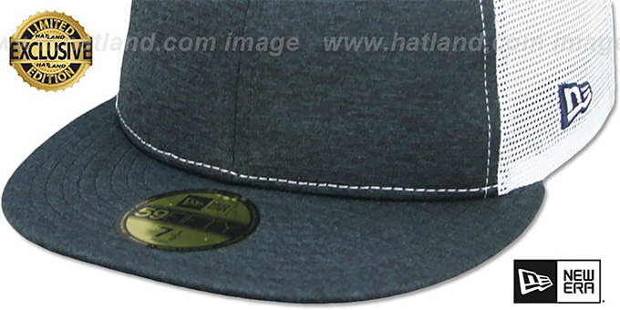 New Era 'MESH-BACK 59FIFTY-BLANK' Navy Shadow Tech-White Fitted Hat