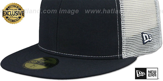 New Era 'MESH-BACK 59FIFTY-BLANK' Navy-White Fitted Hat