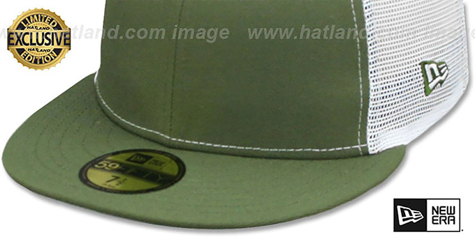 New Era 'MESH-BACK 59FIFTY-BLANK' Olive-White Fitted Hat