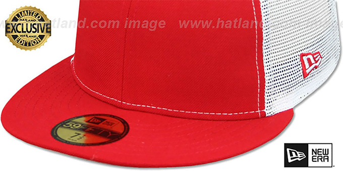 New Era 'MESH-BACK 59FIFTY-BLANK' Red-White Fitted Hat