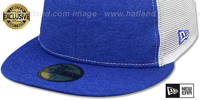 New Era 'MESH-BACK 59FIFTY-BLANK' Royal Shadow Tech-White Fitted Hat