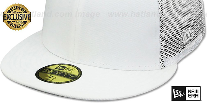 New Era 'MESH-BACK 59FIFTY-BLANK' White-White Fitted Hat