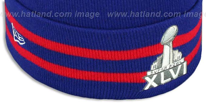81b88d22d2e ... NY Giants  SUPER BOWL XLVI  Royal Knit Beanie Hat by New Era