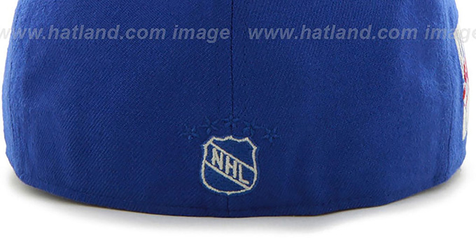 53ba9e0f3c3 New York NY Rangers NHL CATERPILLAR Royal Fitted Hat by 47 Brand